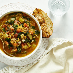 Spiced Red Lentil, Tomato, and Kale Soup