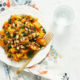 Roasted Butternut Squash with Almond-Pecan Parmesan