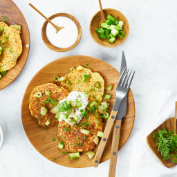 Crunchy Dill Chickpea Pancakes with Lemon-Garlic Aioli