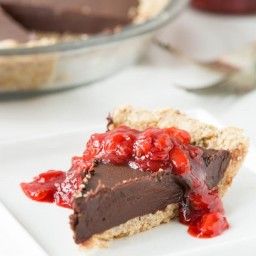 Chilled Dark Chocolate Pie with a Toasted Almond Crust and Strawberry Vanilla Compote