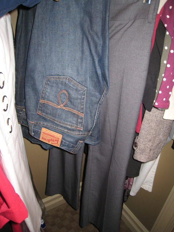 Lucky Brand Jeans, Gap Curvy Bootcut jeans, and RW&co grey slacks