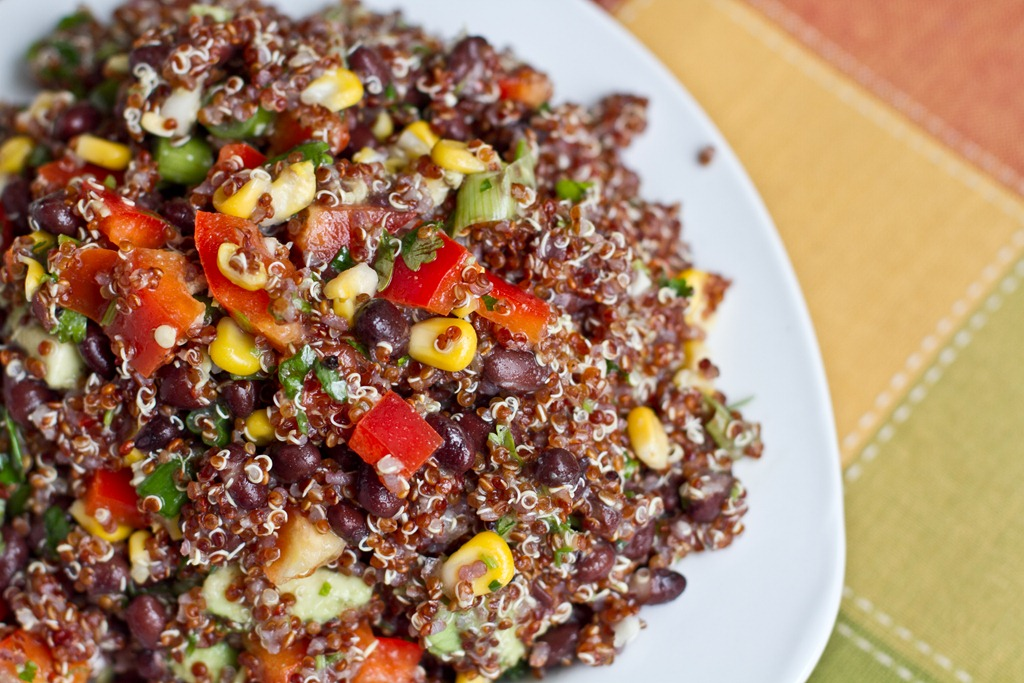 Red Quinoa And Black Bean Vegetable Salad Oh She Glows