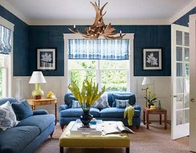 Meg Braff navy blue family room   Butternut Squash Mac 'n Cheeze: Two Ways