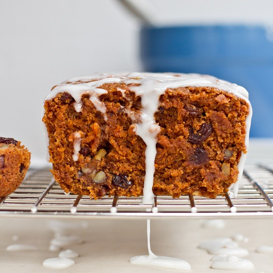 Whole-Grain Vegan Carrot Cake Loaf with Lemon Glaze — Oh She Glows