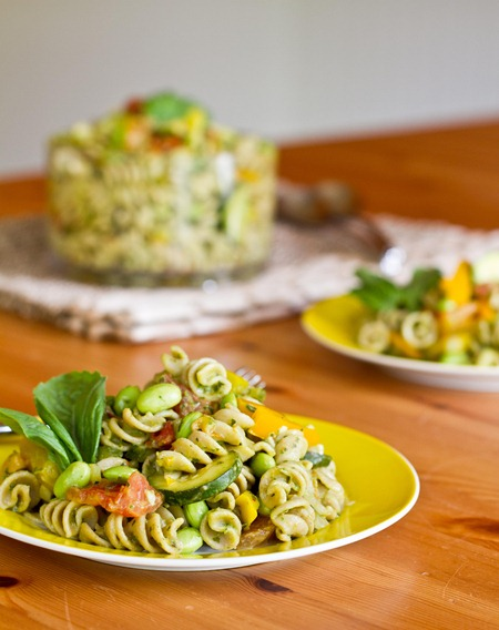 Vegetable and Edamame Pasta with Basil Cream Sauce — Oh She Glows