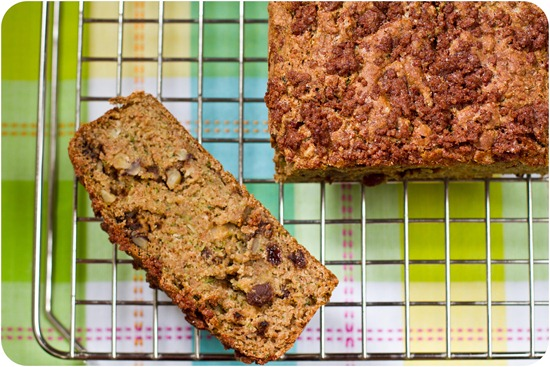IMG 7460   Oil Free Zucchini Walnut Raisin Loaf with Cinnamon Streusel