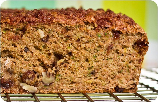 IMG 7463 3   Oil Free Zucchini Walnut Raisin Loaf with Cinnamon Streusel