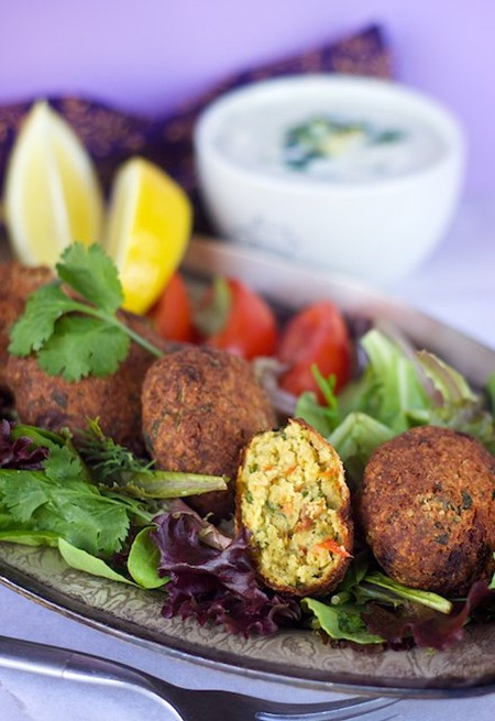 smaller roasted red pepper and garlic falafel
