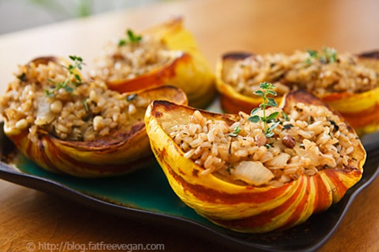 rice stuffed squash   Vegan Recipe Link Love: Nov 16