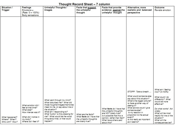 math worksheet : how to reframe a negative thought with a thought record  oh she glows : Cognitive Triangle Worksheet