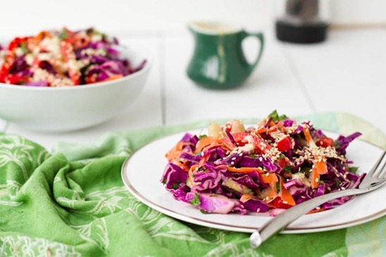 Over The Rainbow Cabbage Salad with Tahini-Lemon Dressing — Oh She Glows