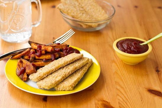 IMG 6313   Easy Weeknight Dinner: Crispy Breaded Tofu Strips & Sweet Potato Fries