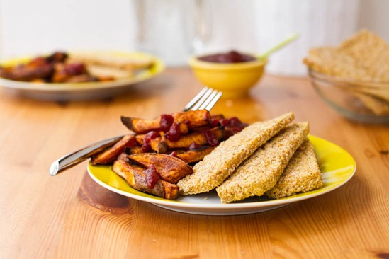 IMG 6318 2   Easy Weeknight Dinner: Crispy Breaded Tofu Strips & Sweet Potato Fries