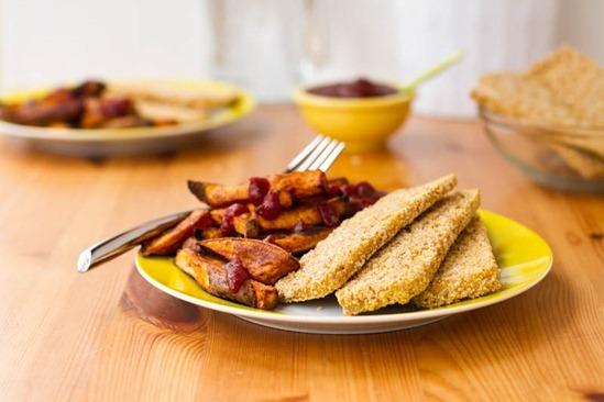 IMG 6318   Easy Weeknight Dinner: Crispy Breaded Tofu Strips & Sweet Potato Fries
