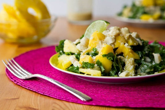 IMG 7701   Tropical Mango, Banana, & Pineapple Kale Salad with Creamy Pineapple Lime Coconut Dressing