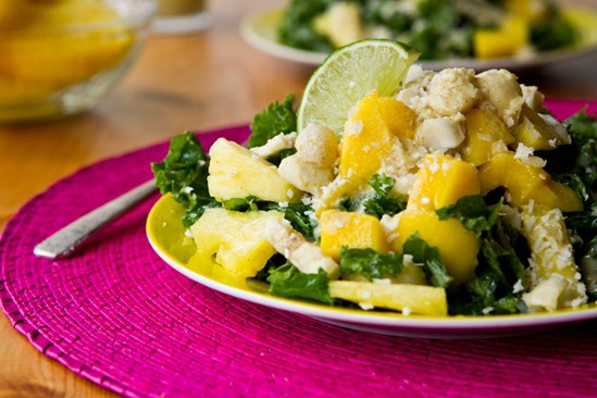 Tropical Mango, Banana, & Pineapple Kale Salad with Creamy Pineapple ...