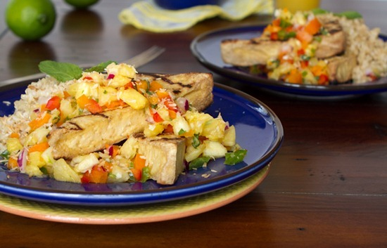 IMG 2119 2   Grilled Tofu with Pineapple Salsa and Coconut Rice