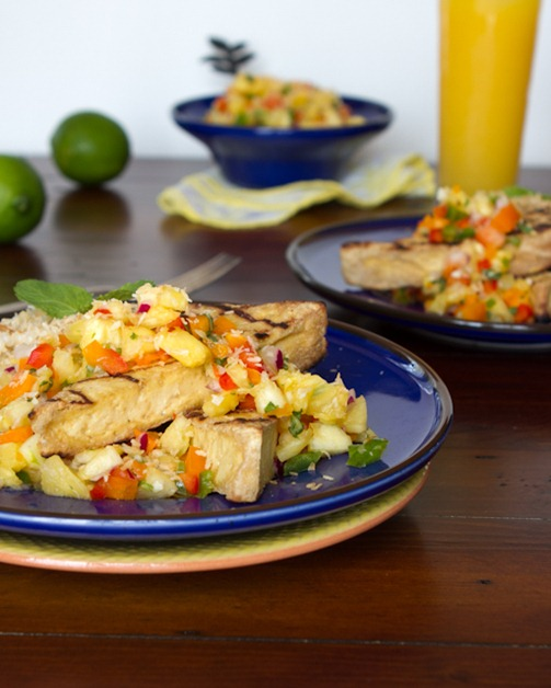 IMG 2119   Grilled Tofu with Pineapple Salsa and Coconut Rice