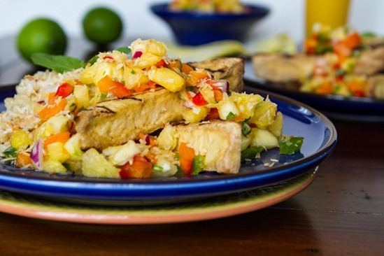 IMG 21231   Grilled Tofu with Pineapple Salsa and Coconut Rice