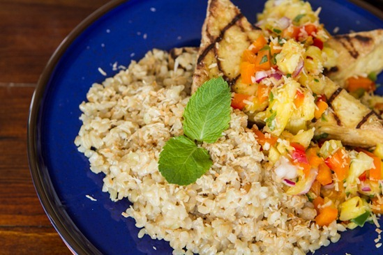IMG 2129 2   Grilled Tofu with Pineapple Salsa and Coconut Rice
