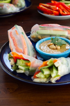 IMG 2555   Veggie Summer Rolls with Spicy Peanut Lime Sauce: Two Ways