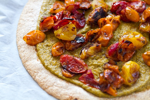 Tortilla Pizza with Basil Cashew Cheese-3638
