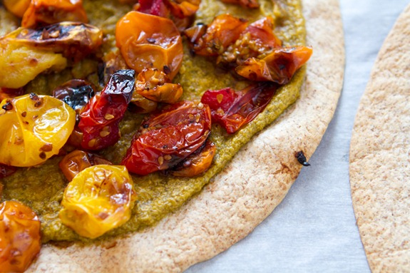 Tortilla Pizza with Basil Cashew Cheese-3641