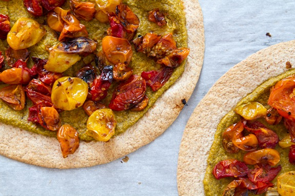 Tortilla Pizza with Basil Cashew Cheese-3643