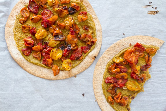 Tortilla Pizza with Basil Cashew Cheese-3644
