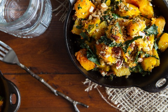 roasted butternut squash 6513   Roasted Butternut Squash with Kale and Almond Pecan Parmesan