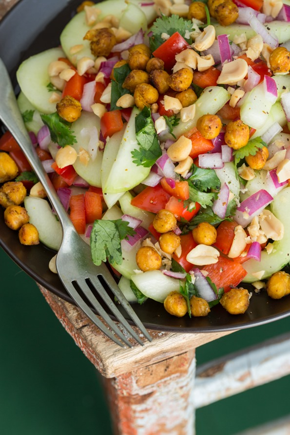 Thaicucumbersaladwithroastedchickpeas 5047   Thai Inspired Hydrating Cucumber Salad with Roasted Spiced Chickpeas
