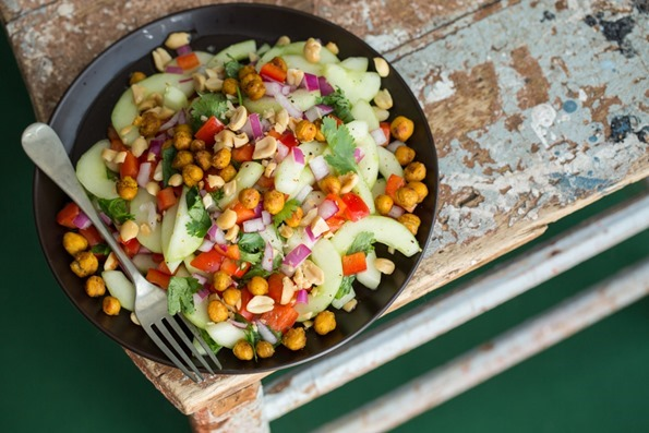 Thaicucumbersaladwithroastedchickpeas 5055   Thai Inspired Hydrating Cucumber Salad with Roasted Spiced Chickpeas