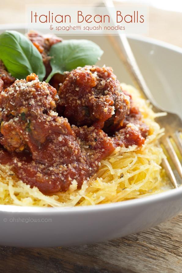 veganmeatballs 2464   Italian Bean Balls & Spaghetti Squash Noodles