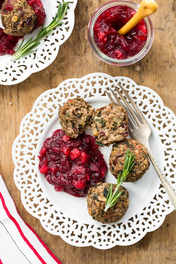 lentilwalnutmeatballscranberrysaucevegan 3017   Lentil Mushroom Walnut Balls with Cranberry Pear Sauce