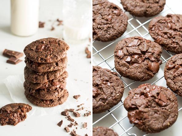 veganchocolatecookies One Bowl Double Chocolate Chunk Cookies