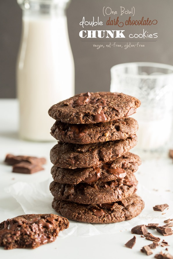 One Bowl Double Chocolate Chunk Cookies — Oh She Glows