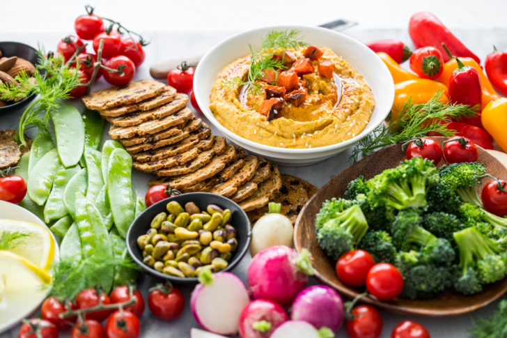 Hummus, Crackers, and Vegetables