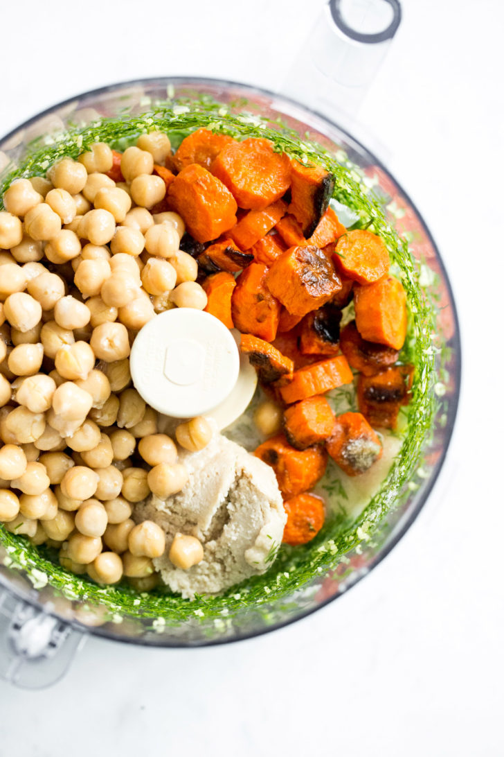 Roasted Carrot and Dill Hummus ingredients in Food Processor
