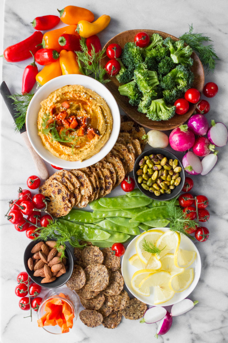Hummus, Vegetables, and Crackers Marble Charcuterie Board