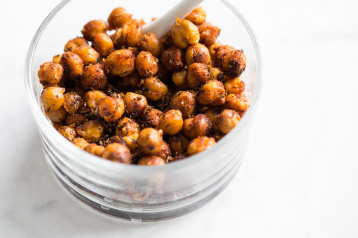 Roasted Chickpeas in glass bowl